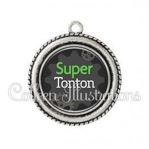 Pendentif résine Super tonton (038GRI01)