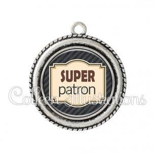 Pendentif résine Super patron (004NOI01)