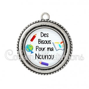 Pendentif résine Des bisous pour ma nounou (040BLA01)