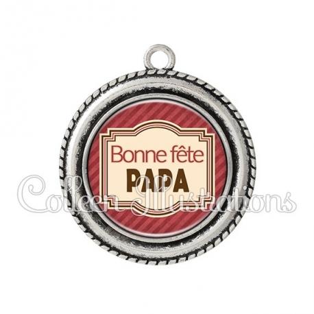 Pendentif résine Bonne fête papa (004ROU01)