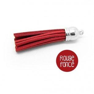 Pompon suédine rouge foncé 58mm