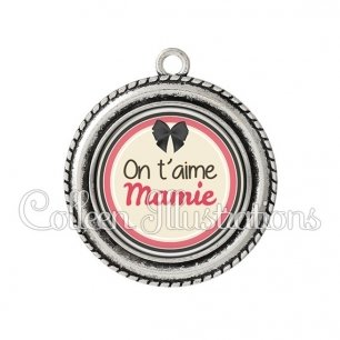 Pendentif résine Mamie on t'aime (042MAR01)