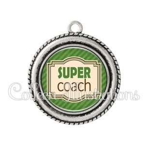 Pendentif résine Super coach (004VER01)