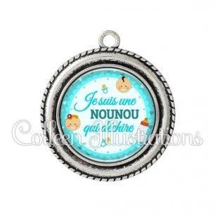 Pendentif résine Nounou qui déchire (044BLE01)
