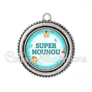 Pendentif résine Super nounou (044BLE01)