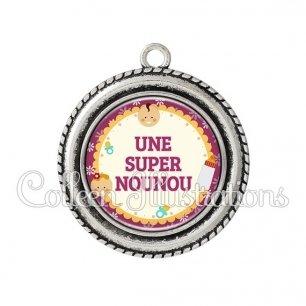 Pendentif résine Super nounou (044VIO01)