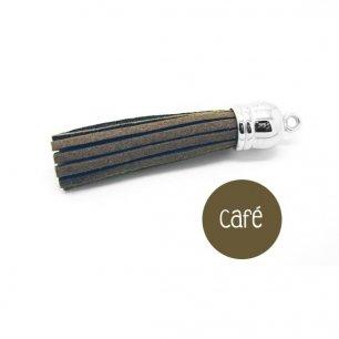 Pompon suédine marron café 58mm