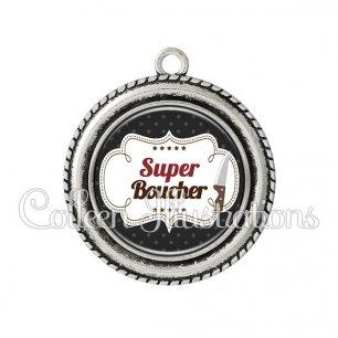 Pendentif résine Super boucher (045NOI01)