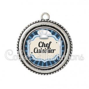 Pendentif résine Chef cuisinier (048BLE01)