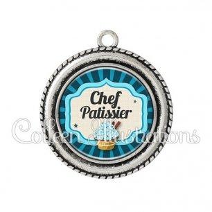 Pendentif résine Chef patissier (048BLE02)