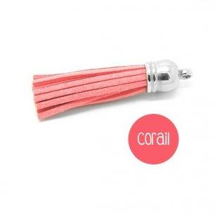 Pompon suédine corail rouge clair 58mm