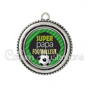 Pendentif résine Super papa footballeur (050VER01)