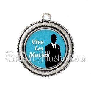 Pendentif résine Vive les mariés (051BLE01)