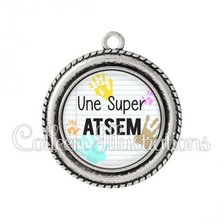 Pendentif résine Super ATSEM (052BLA01)