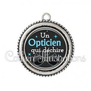 Pendentif résine Opticien qui déchire (053NOI04)