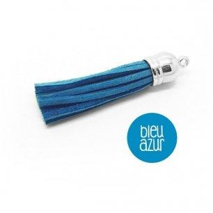 Pompon suédine bleu azur 58mm