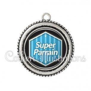 Pendentif résine Super parrain (055BLE01)