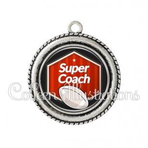 Pendentif résine Super coach (055ROU02)