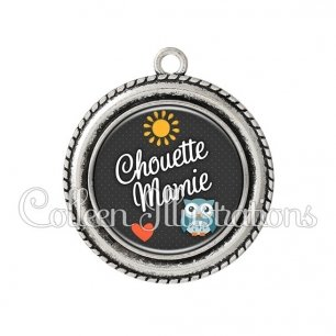 Pendentif résine Chouette mamie (058GRI01)