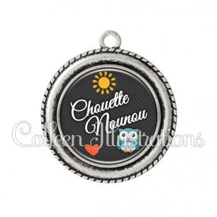Pendentif résine Chouette nounou (058GRI01)