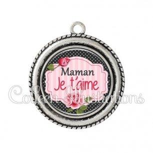 Pendentif résine Maman je t'aime (060NOI01)