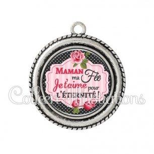Pendentif résine Maman ma fée je t'aime pour l'éternité (060NOI01)