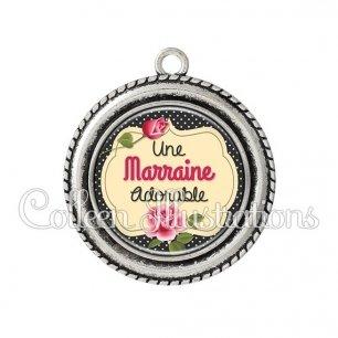 Pendentif résine Marraine adorable (061NOI01)
