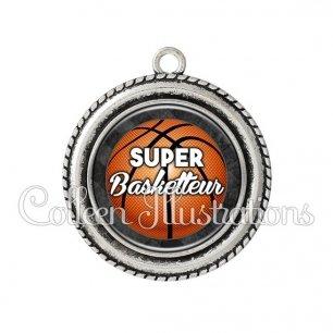 Pendentif résine Super basketteur (062GRI01)