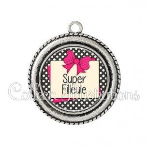 Pendentif résine Super filleule (065GRI01)