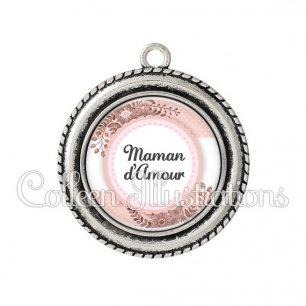 Pendentif résine Maman d'amour (066ROS01)