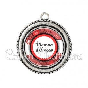 Pendentif résine Maman d'amour (066ROU01)