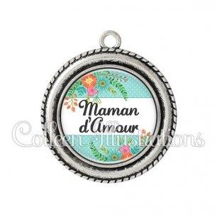 Pendentif résine Maman d'amour (066VER02)