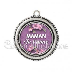 Pendentif résine Maman je t'aime (068VIO01)