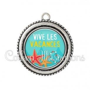 Pendentif résine Vive les vacances (069BLE01)