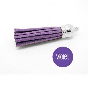Pompon suédine violet 58mm