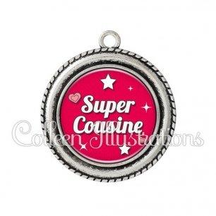 Pendentif résine Super cousine (074ROU02)