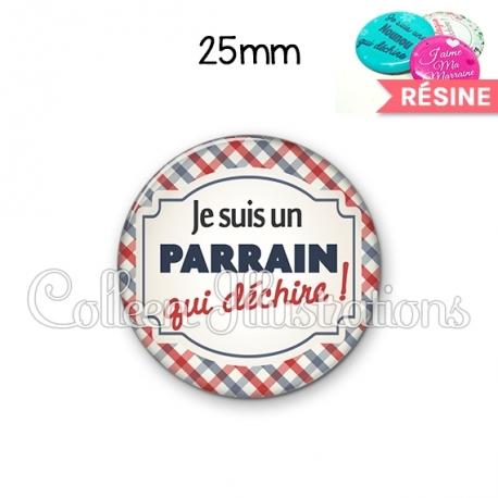 Cabochon en résine epoxy Parrain qui déchire (013MUL01)
