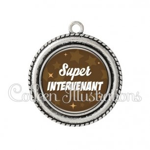 Pendentif résine Super intervenant (078MAR01)