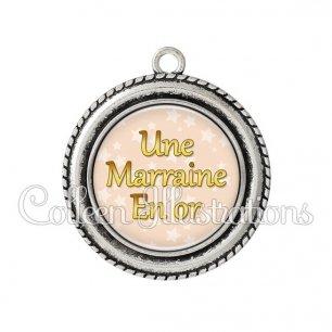 Pendentif résine Marraine en or (078MAR03)