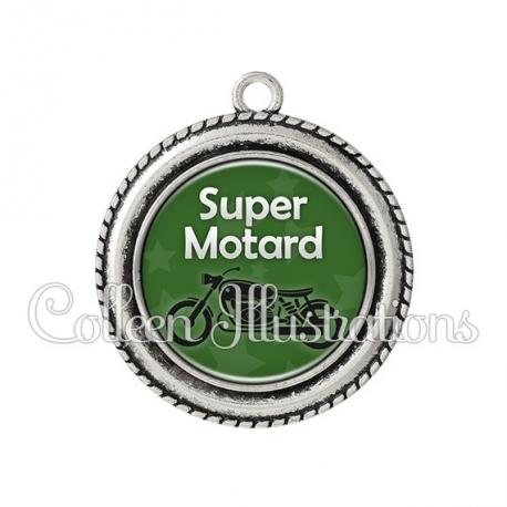 Pendentif résine Super motard (078VER07)