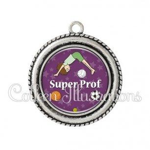 Pendentif résine Super prof (078VIO03)