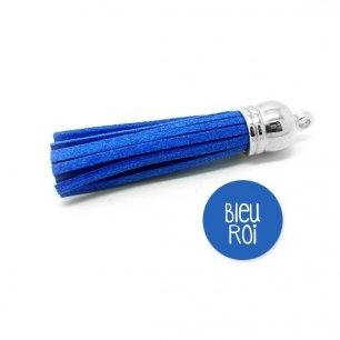 Pompon suédine bleu roi 58mm