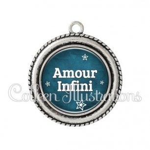 Pendentif résine Amour infini (079BLE01)