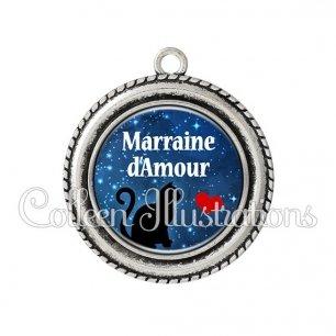 Pendentif résine Marraine d'amour (080BLE01)