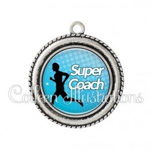 Pendentif résine Super coach (082BLE01)