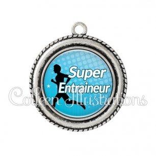 Pendentif résine Super entraineur (082BLE01)