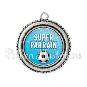 Pendentif résine Super parrain (082BLE02)