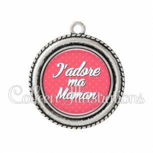 Pendentif résine J'adore ma maman (087ROS01)