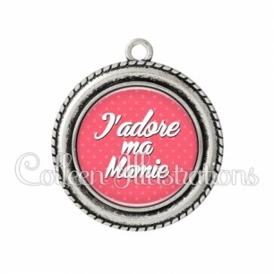Pendentif résine J'adore ma mamie (087ROS01)