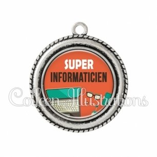 Pendentif résine Super informaticien (088ORA01)